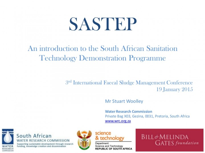 South african sanitation technology demonstration for Commercialization roadmap