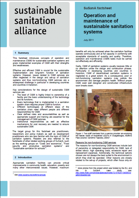 operation and maintenance of sustainable sanitation systems susana