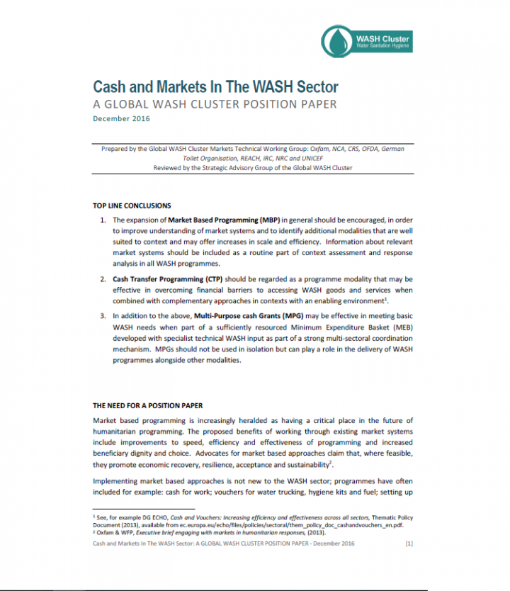 Cash and Markets In The WASH Sector - Resources • SuSanA