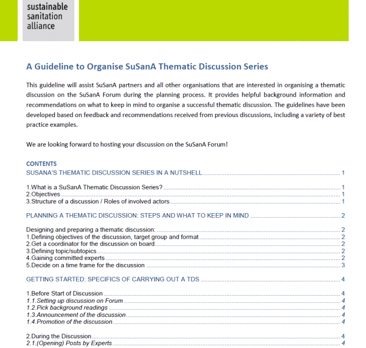 A Guideline to Organise SuSanA Thematic Discussion Series